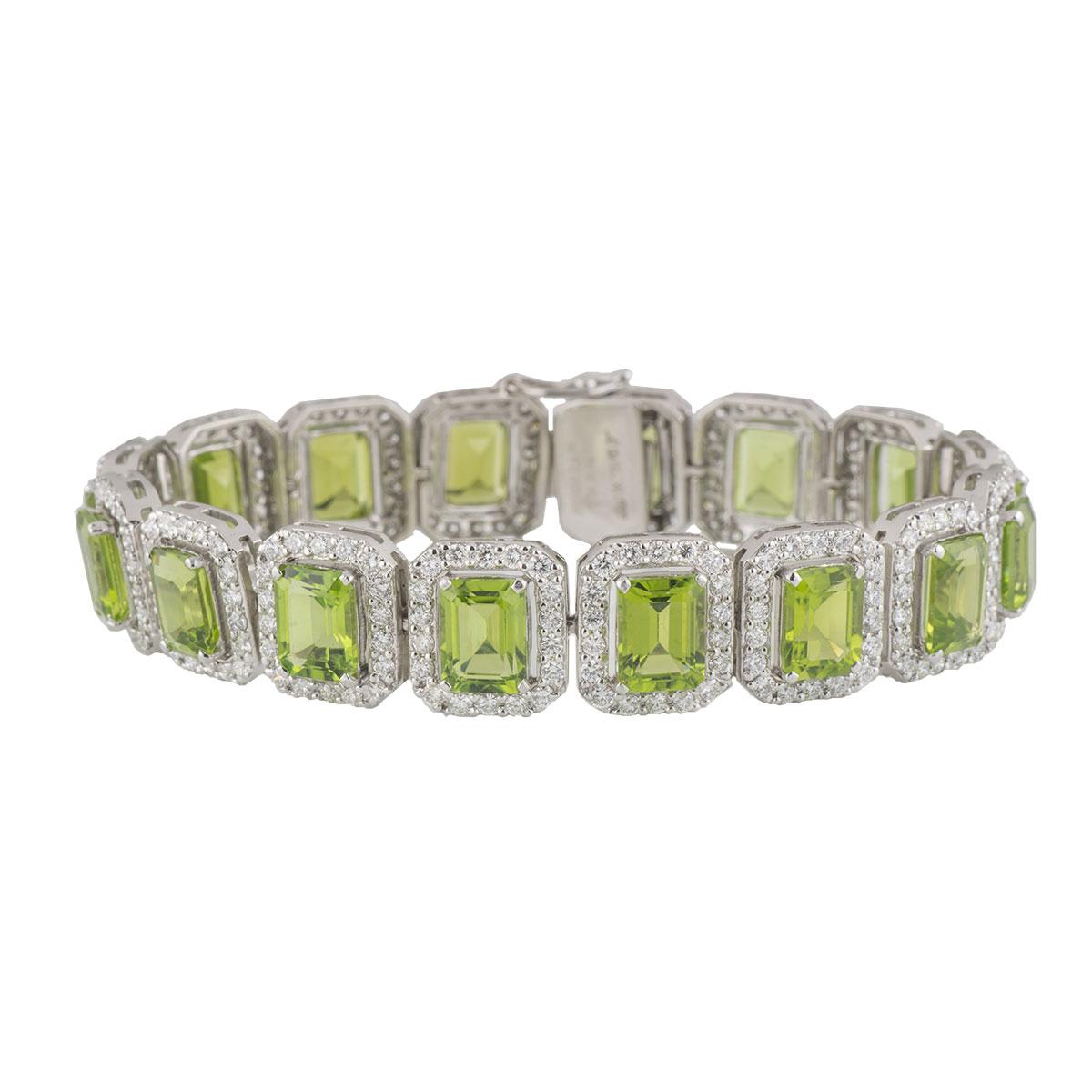 White Gold Diamond and Peridot Line Bracelet